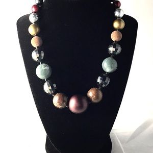 Vintage Multicolor Wood and Plastic Bead Necklace